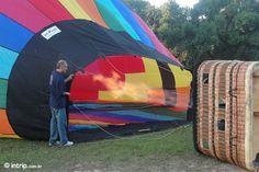 Colocando ar quente para o Balão subir..
