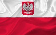 Download wallpapers Flag of Poland, Polish flag, Poland, Europe, silk