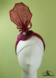 Art Deco Headband - 1920s Style Black / Magenta Colored Headband - Flapper Headband - Bridal - OOAK