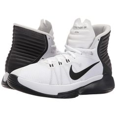 Nike Prime Hype DF 2016 (White/Anthracite/Pure Platinum/Black) Women's... ($80) ❤ liked on Polyvore featuring shoes, athletic shoes, white high top shoes, black lace up shoes, black shoes, nike shoes and black basketball shoes