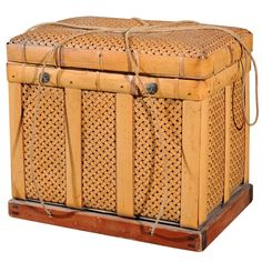 View this item and discover similar for sale at - Japanese storage basket from Kyoto made of weaved bamboo, original metal fittings and rope, Taisho period, circa Japanese Bamboo, Japanese Pottery, Japanese Art, Glazes For Pottery, Pottery Art, Decorative Objects, Decorative Accessories, Basket Weaving, Bamboo Weaving