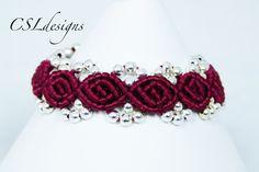 Rose bud macrame bracelet