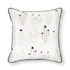 "Cream Cactus Print Throw Pillow (18""x18"