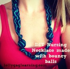 Easy DIY Nursing Necklace using bouncy balls. Teething or Nursing necklaces give your baby something to hold so they don't scratch and pinch you while breastfeeding!