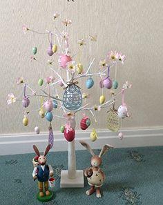 Ostern Baum Mit Lichtern, Wei 70cm Tisch Top Zweig Baum Beleuchteter Mit 24  LEDs
