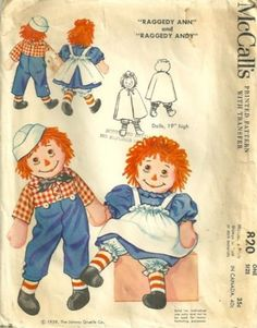 1950s McCalls 820 Raggedy Ann and Andy Dolls and Doll Clothes Pattern PatternGate - Craft Supplies on ArtFirvintge sewing pattern