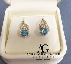 NEW!!! (3/3/16) 50% OFF! 14K TriGold Blue Topaz Leaf Post Earrings .|  Original Retail Price: $250.00 SALE PRICE: $125.00 | Call Andrew Gallagher Jewelers at 302-368-3380 for more information. We SHIP!! | #50OffJewelryCase