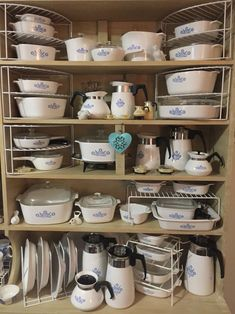 I have many of these vintage Corning Pyrex Cornflower Blue pieces! This picture makes me giddy! Corningware Vintage, Vintage Kitchenware, Vintage Dishes, Vintage Glassware, Vintage Pyrex, Vintage Tins, Pyrex Display, Retro, Pyrex Bowls