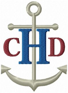 Nautical Anchor Monogram Fonts Machine Embroidery Designs - 4x4 Hoop Instant Download Sale