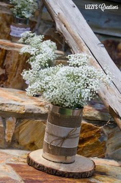 rustic tin cans and babys breath wedding decor ideas