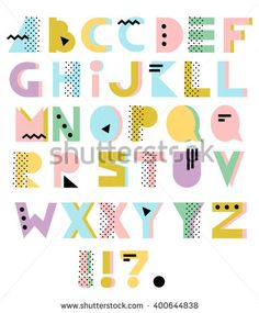 Hand Drawn Alphabet Geometric Funny Font Colorful Vector Letters 80s