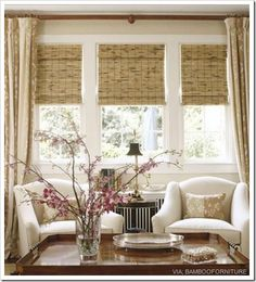 combo of bamboo shades and drapes