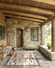 Beautiful- but a travesty to put a large Navajo rug even this worn one outside I assume it s just staged Pergola Patio, Diy Patio, Pergola Plans, Modern Pergola, Pergola Ideas, Metal Pergola, Stone Patio Designs, Pergola Designs, Casas Containers