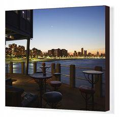 Greetings Card-View of city skyline from Moyo restaurant on Addington Beach pier, Durban, KwaZulu-Natal-Photo Greetings Card made in the USA Kwazulu Natal, Travel Images, Made In America, Bar Chairs, Fresco, Seaside, South Africa, New York Skyline, Photo Wall Art