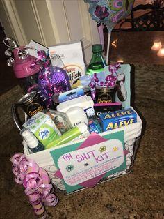 Birthday Oh Shit Kit – Gift Basket Ideas Mom Birthday Gift, 21st Birthday Gifts For Best Friends, 21st Birthday Basket, Birthday Gift Baskets, 21st Gifts, Boyfriend Birthday, 19th Birthday Gifts, Diy Gifts, 21st Bday Ideas