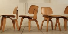 Set of 4 1950's Evans DCW by Charles Eames in birch image 5