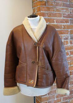 Vintage Leather Shearling Sheepskin  Jacket Size M by TheOldBagOnline on Etsy