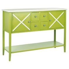 Sideboard with a crisscross motif.   Product: SideboardConstruction Material: PoplarColor: Green and whiteDimensions: 34.2 H x 45.8 W x 14.9 D