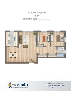 Two Bedroom Floor Plan | 1380 Ft. Stevens | Apartments in Northwest Washington DC | WC Smith #Apartments | Brightwood #Rentals