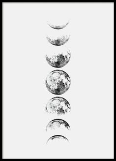 Moon Phase Gray, poster in the group Posters / Dimensions / at Desenio A . - Moon Phase Gray, poster in the group Posters / Dimensions / at Desenio AB - Poster Shop, Poster Prints, Poster Poster, Wall Art Prints, Moon Phases Drawing, Moon Phases Art, Moon Drawing, Body Art Tattoos, Tatoos