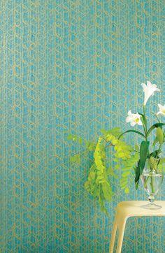 Jocelyn Warner Scribble Turquoise Gold Wallpaper