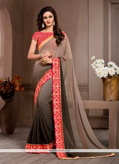 You will be bound to make a powerful style statement with this brown georgette designer saree. The ethnic embroidered and patch border work for the attire adds a sign of beauty statement to your look....