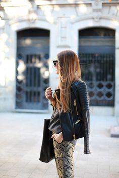 Leather jacket + jacquard pants