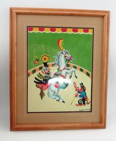 1960s Matted Framed PBN Paint by Number Circus Clown Horse Monkey Ringmaster