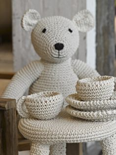 Teddy Bear And Tablesetting - Crochet Inspiration - No Pattern - (simplydutch)