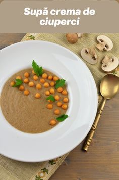 Supa crema de ciuperci, una dintre supele creme nelipsite de pe masa noastra toamna si iarna! Sper ca si voua va place la fel de mult! Lidl, Chana Masala, Soup, Ethnic Recipes, Soups