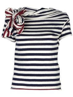 Blue cotton t-shirt from Y's featuring a white stripe pattern, short sleeves and a red/white knot detail to the neckline.