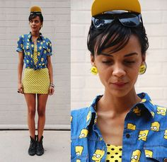 "Gift Visor Shades, Vintage ""Don't Worry"".. ""Be Happy"" Earrings, Sheinside Bart Simpson Shirt, Thrifted Polka Dot Dress, Vintage Leather Boots"