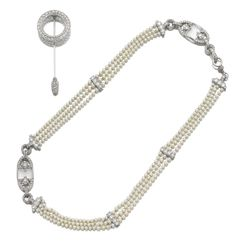 CARTIER Natural pearl, rock crystal and diamond necklace and diamond jabot pin, Cartier,Paris 1925