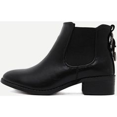 Black Faux Leather Almond Toe Elastic Buckle Strap Boots ($49) ❤ liked on Polyvore featuring shoes, boots, ankle booties, black, short heel booties, vegan booties, low heel black booties, black boots and chunky-heel boots