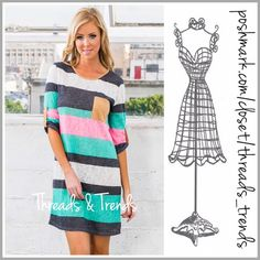 Mint Striped Tunic Dress Fun spring mint, pink and white striped tunic dress. Featuring 3/4 length sleeves and pocket detail on bodice. Pair with white leggings or wear as a mini dress. Made of a cotton, spandex blend. Size S, M, L Threads & Trends Dresses