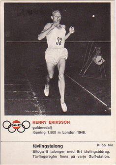 Henry Eriksson bilder | GULF Samlarbilder. OS guld 1.500 meter 1948 London.