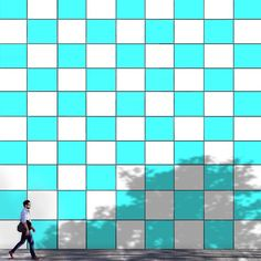#Facade #Aqua blue tiles -- Shadowalk by Pascal Krumm