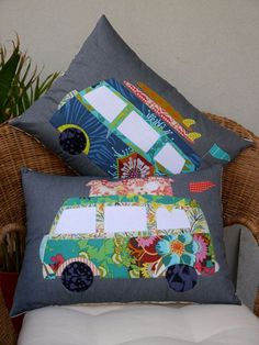 This Gorgeous home decor pattern is titled Free Campin... a fabulous applique design.. Includes patterns for a pop top camper or with the top down & surf boards on top The pattern is easy to follow and has options for various sized and shaped cushions. It is great for a beginner or is a great afternoon project for the more experienced . . . a good way to use up your fabric scraps! The pattern includes detailed instructions on how to applique using fusible paper, stitching techniques…