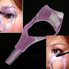 MERSUII Cosmetic 3 in 1 Mascara Applicator Guide Tool Eyelash Comb Makeup Plastic Curler Beauty *** Want additional info? Click on the image. (Note:Amazon affiliate link)
