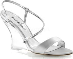 5951721ac7e53 Women s Fabulicious Lovely 417 - Silver Satin Clear with FREE Shipping    Exchanges. Lovely 417 is a sling back wedge sandal that proves simplicity  is sexy.
