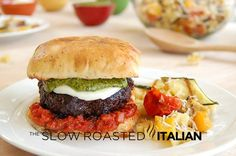⊱✿⊰ Gourmet Caprese Burger with Balsamic Reduction ⊱✿⊰  {{Recipe link - http://www.theslowroasteditalian.com/2012/07/gourmet-caprese-burger-and-125-giveaway.html}}