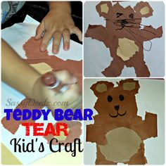 Teddy Bear Tear Kid's Craft (Cheap & Easy - No Scissors Required!) - Fun with Dancing with Teddy from Maracas, Music Together! Teddy Bear Crafts, Diy Teddy Bear, Cute Teddy Bears, Craft Projects For Kids, Crafts To Do, Diy For Kids, Craft Ideas, Kid Crafts, Art Projects