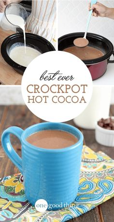 There's nothing more comforting that a creamy cup of hot chocolate on a cold day. This Crockpot Hot Chocolate is the best I've ever tasted!