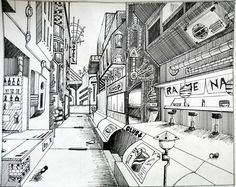 Pen one point perspective by Skyfer7
