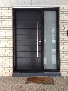 Front Entrance Door-Modern Door- Entry Front Door-Modern Fiberglass Door Frosted side lites installled in Aurora by modern-doors. Modern Entrance Door, Modern Exterior Doors, Modern Front Door, Front Door Entrance, Exterior Front Doors, House Front Door, Door Entryway, House Doors, Entry Doors