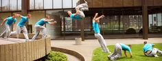 This is an example of graphic sequence as it shows a parkour expert going through the motions of flipping off a ledge and continuing to run.