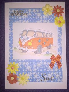 VW Campervan Birthday Card by Sarah Bell made with Little Claire digi stamp - http://www.littleclaire.co.uk/product/digi-vw-campervan.html