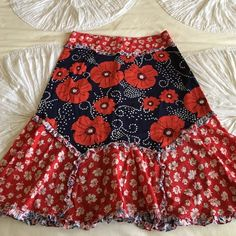 Anthropologists skirt - size 2 Red, white and navy anthropologist skirt -  high waste and goes just below knees. Odille brand. Anthropologie Skirts A-Line or Full