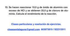 Ejercicio 15. Tema: Rendimiento (reacciones químicas)