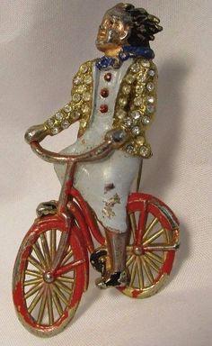 Vintage Rhinestone Enamel Fur Clip Figural Woman Riding Bicycle 1940's